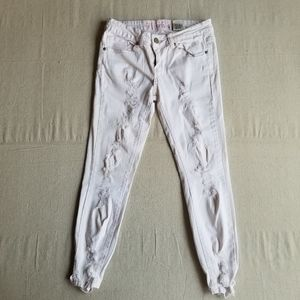 VIP Jeans pink stitching ripped skinny jeans sz 8
